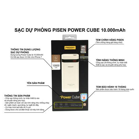 Sạc dự phòng Pisen Power Cube 10000mAh
